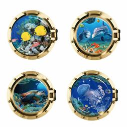 USA STOCK 3D Porthole Ocean Animals Wall Sticker Decals PVC