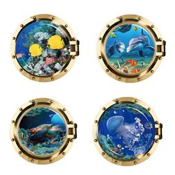 USA STOCK 3D Porthole Ocean Animals Wall Sticker Decals Viny