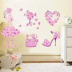 BIBITIME Valentine's Day Pink Flower Heart Butterfly Wall De