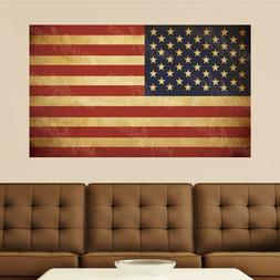Vintage American Flag Distressed Vinyl Wall Decal Sticker Gr