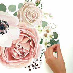 Vintage Floral Bouquet Peel And Stick Giant Wall Decals Pink