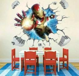 Vinyl 3D Wall Stickers Iron Man Room Decal Wallpaper Removab