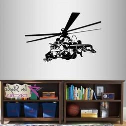 Vinyl Decal Attack Military Helicopter Army Marines Boys Kid