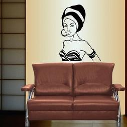 Vinyl Decal Beautiful African Girl Woman in Turban Afro Styl