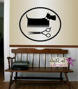 Vinyl Decal Pet Grooming Salon Logo Dog Clippers Wall Sticke