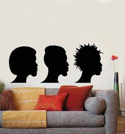 Vinyl Wall Decal Afro Hair Style Boys Barber Shop Stickers M