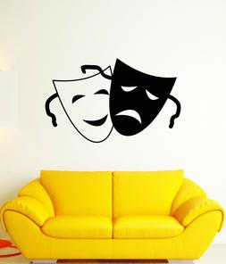 Vinyl Wall Decal Comedy And Tragedy Theater Face Masks Art S