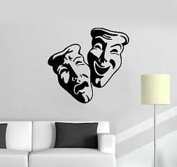 Vinyl Wall Decal Comedy Tragedy Theatrical Mask Theatre Acto