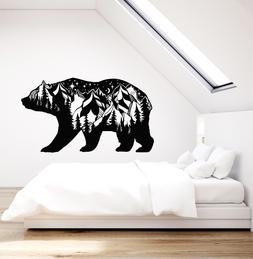 Vinyl Wall Decal Forest Animal Bear Landscape Mountains Stic