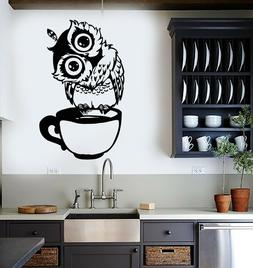Vinyl Wall Decal Funny Cartoon Owl Cup Of Tea Coffee For Kit