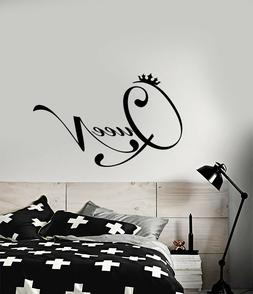 Vinyl Wall Decal Quote Word Queen Crown For Girl Room Sticke