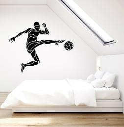 Vinyl Wall Decal Soccer Player Ball Sport Gift For Boys Stic