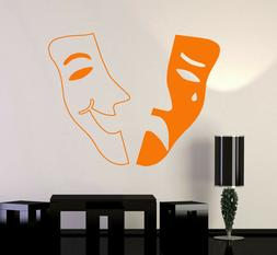 Vinyl Wall Decal Theatrical Mask Theater Emotions Tragedy Co