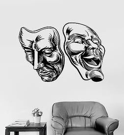 Vinyl Wall Decal Theatrical Masks Theatre Comedy Tragedy Sti