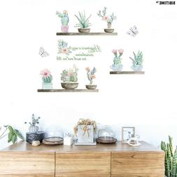 Vinyl Wall Decals Potted Succulent Plant Cactus Flower Wall