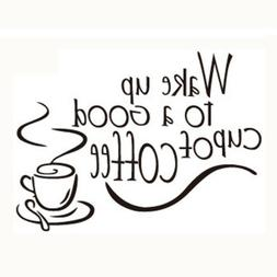 Wake Up Coffee Quote Vinyl Wall Stickers Removable Mural Dec