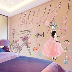Wall Cartoon Girl Stickers DIY Kids Room Bedroom Removable A
