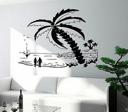 Wall Decal Beach Palm Sunset Romantic Love Sea Decor For Bed