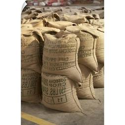 Wall Decal entitled Coffee beans packed in sacks, Guatemala