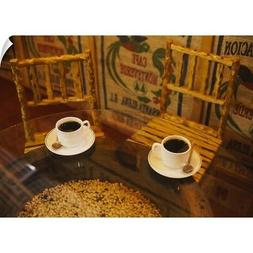 Wall Decal entitled High angle view of two cups of coffee on