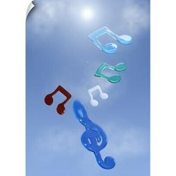 Wall Decal entitled Musical notes floating in blue sky