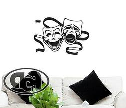 """Wall decal Home Theater Tragedy Comedy Mask 20"""" Tall 29"""" Wid"""