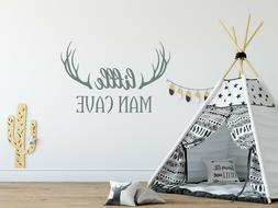 Wall Decal Little Man Cave. Deer Antlers Stickers. Woodland