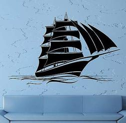 Wall Decal Sail Boat Ship Yacht Marine Sea Waves Vinyl Stick