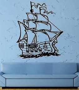 Wall Decal Ship Sailboat Sea Ocean Waves Gun Frigate Helm Vi