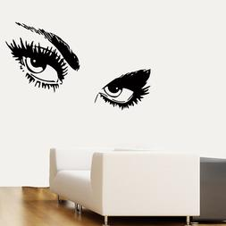 Wall Decals Girl Vinyl Sticker Eyes Decal Make Up Hair Beaut