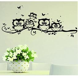 Jieyui Art Wall Decor Cartoon Owl Butterfly Vinyl Kids Room