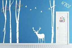 Wall Decor Decal Sticker large birch tree trunk forest 4 tre