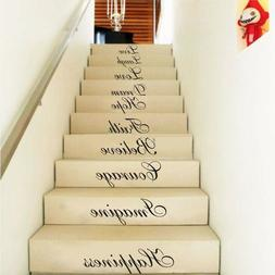 Wall Stair Riser Stickers Ten Inspiration Words Quotes Decal