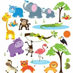 Wall Sticker Decals for Boys & Girls - Jungle Safari Wild An