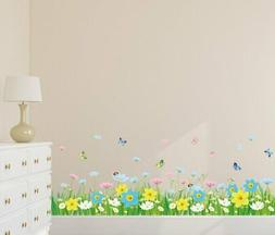 Wall Sticker for Living Room (Floral Fence with Butterflies,