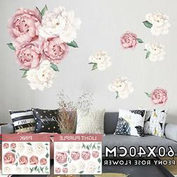 Wall Sticker Peony Rose Flower Nursery Decal Kid Room Remova