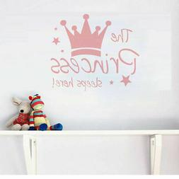 Wall Sticker Pink Crown & Quote The Princess sleeps here! De