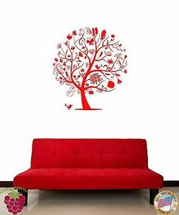 Wall Sticker Tree Birds Butterfly Branch Floral Decor for Li
