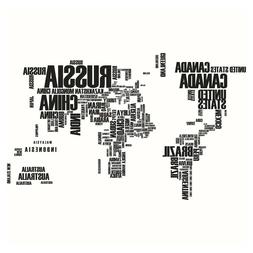 Wall Sticker Waterproof Country Name World Map Wall Decal fo
