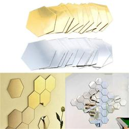 Wall Stickers 12Pcs 3D Mirror Hexagon Vinyl Removable  Decal