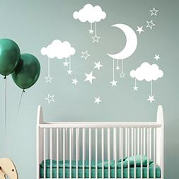 Pbof Wall Stickers, Moon And Stars Night Sky Vinyl Wall Art