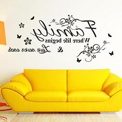 Wall Stickers,Geyou Removable Family Quotes Sayings With But