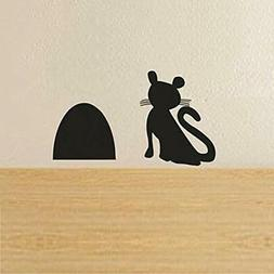 Wall Stickers & Murals BATTOO Cat Waiting For Mouse Beside H