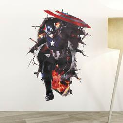Wall Stickers Captain America Mural Art 3D Decal Posters Wal