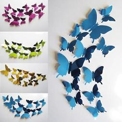 Wall Stickers Decal Butterflies 3D Mirror Bedroom Home Wall