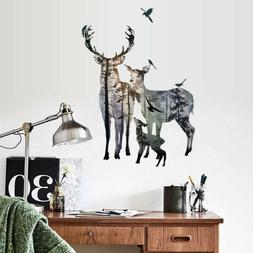 wall stickers deer forest removable art vinyl
