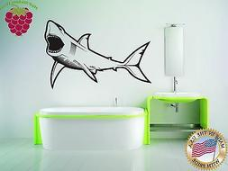 Wall Stickers Vinyl Decal For Bathroom Toothy Shark Predator