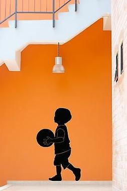 Wall Stickers Vinyl Decal Little Boy With Basketball Ball Fo