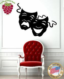 Wall Stickers Vinyl Decal Theatrical Masks Comedy and Traged