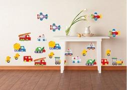 Wall Tattoo Decal Vehicle for Kid's Room Train Construction